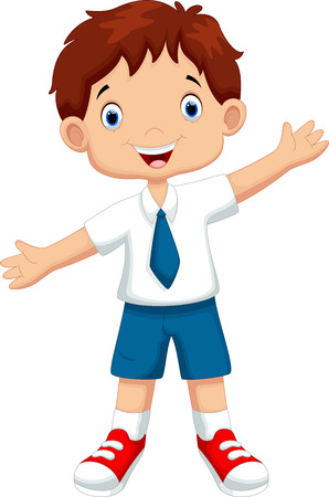 cartoon kids: Cute boy in a school uniform Illustration