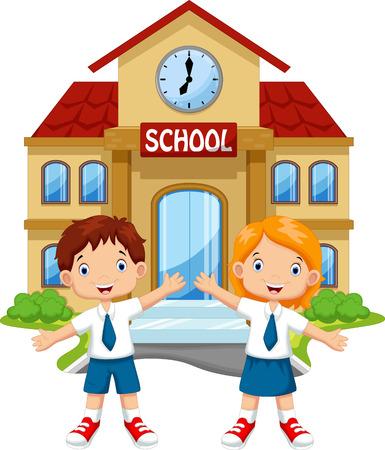 Los escolares que presentan delante de la escuela