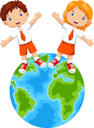 discovering: Students and globes cartoon Illustration