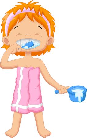 young girl: Young girl brushing teeth Illustration