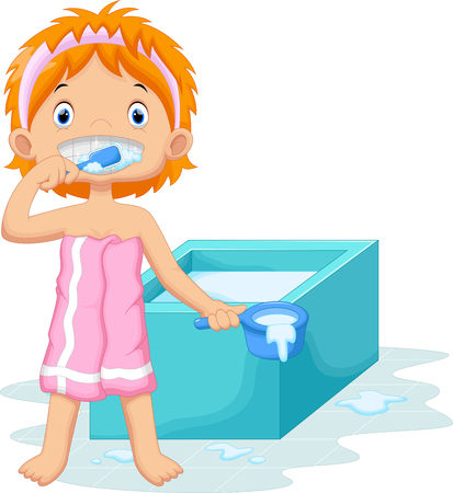 girl face: Young girl is brushing her teeth in the bathroom Illustration