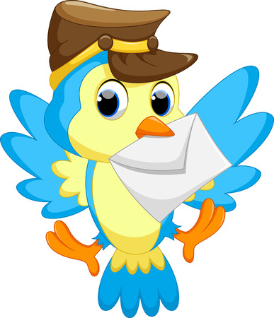 funny cartoon: Cute bird wearing a hat, carrying a letter