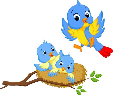 pajaro caricatura: Pájaro de la madre con dos cachorros