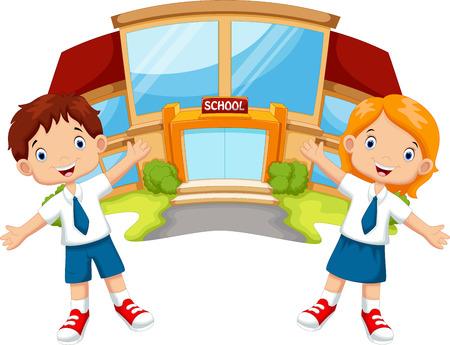 Schoolkinderen in de voorkant van het schoolgebouw Stock Illustratie