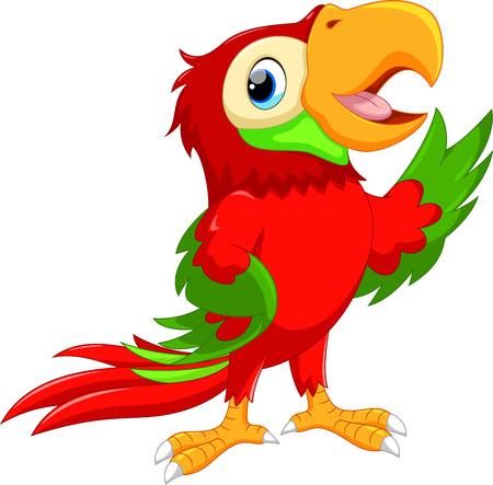 cartoon parrot: Cute cartoon macaw waving