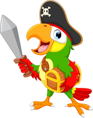 pampered: Pirate parrot holding a sword