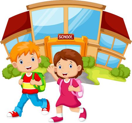 niño con mochila: niños de la escuela caminando en frente del edificio de la escuela
