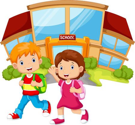 preschool classroom: school children walking in front of the school building