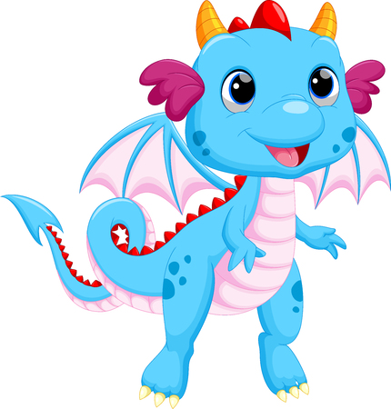 dinosaur cute: Cute baby dragon cartoon Illustration