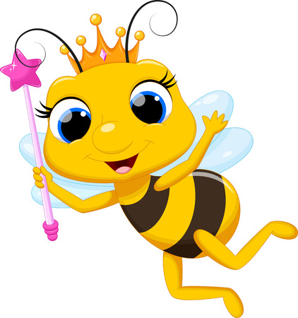 abeja reina: Lindo de la abeja reina de dibujos animados