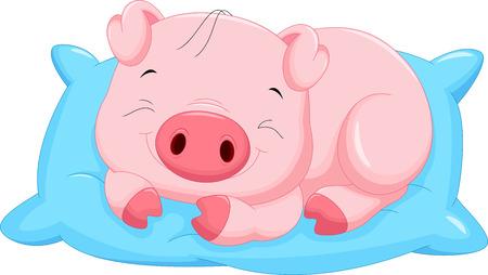 Cute cartoon baby pig sleeping Stock Illustratie