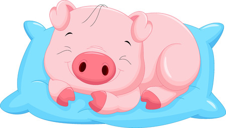 Cute cartoon baby pig sleeping Vettoriali