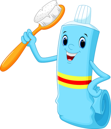 Vector illustration of Toothbrush and toothpaste cartoon Illustration