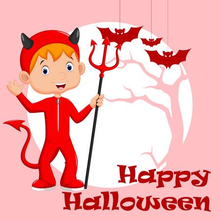 infernal: Cute little boy wearing a red devil costume