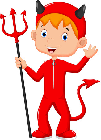 devil cartoon: Cute little boy wearing a red devil costume