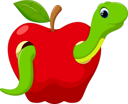 cartoon larva: Funny cartoon worm in the apple