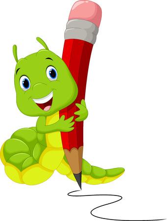 cartoon larva: Cute caterpillar cartoon writing