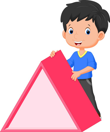 preschool classroom: Cute boy holding a triangle
