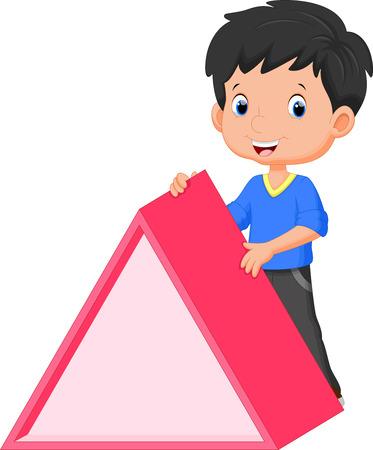 kid vector: Muchacho lindo que sostiene un triángulo Vectores