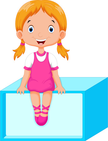 little girl sitting: Cute little girl sitting on a rectangular