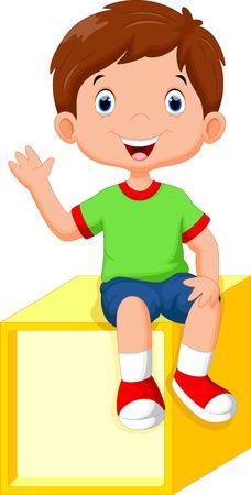 cute little boy: Cute little boy sitting on a cube