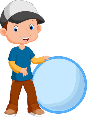 kid vector: El muchacho lindo que sostiene un círculo