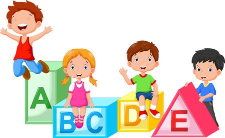 Happy school children playing with alphabet blocks Stock Illustratie