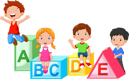 Happy school children playing with alphabet blocks Illustration