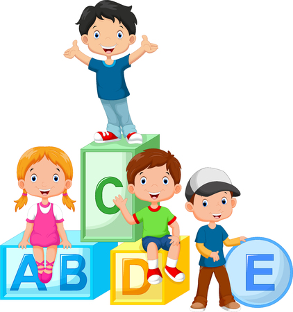 Happy school children playing with alphabet blocks Çizim