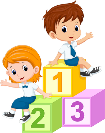 cartoon number: Two students sitting on the numbers blocks Illustration