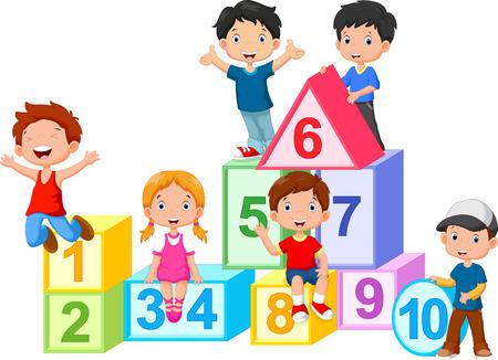 数字ブロックで幸せな子供たち  イラスト・ベクター素材