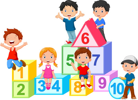 cartoon number: Happy kids with numbers blocks