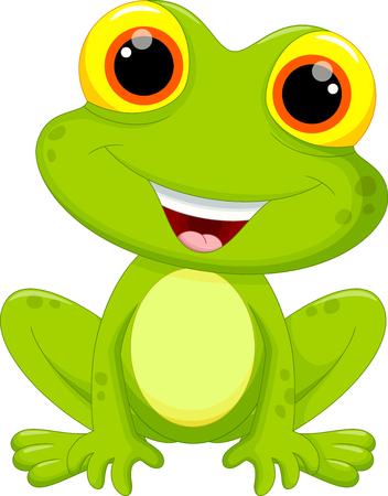 caricaturas de ranas: Ilustraci�n vectorial de dibujos animados lindo de la rana aislado en fondo blanco