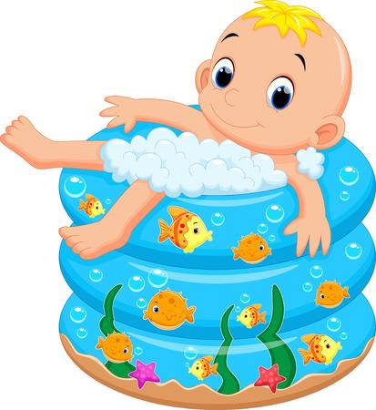Jongen van de baby bad in een badkuip met veel zeep Vector Illustratie