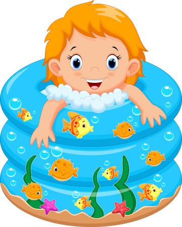 Vector animals: Cô bé tắm trong một bồn tắm với nhiều xà phòng Hình minh hoạ