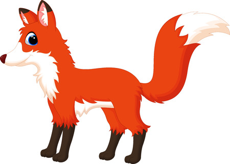 sneaky: Vector illustration of cute fox cartoon