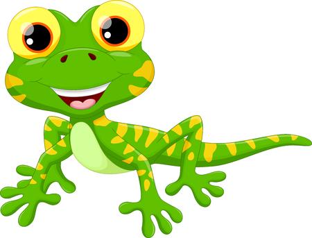 Ilustración vectorial de dibujos animados lindo lagarto aisladas sobre fondo blanco Vectores