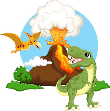 pteranodon: Cute tyrannosaurus and pterodactyl cartoon with volcano background