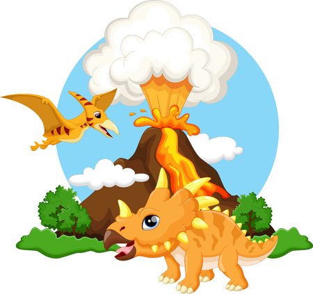 volcano mountain: Cute triceratops and pterodactyl cartoon with volcano background