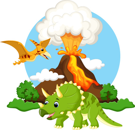 cartoon volcano: Cute triceratops and pterodactyl cartoon with volcano background