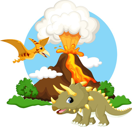 eruption: Cute triceratops and pterodactyl cartoon with volcano background