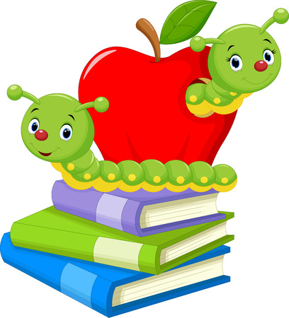 education cartoon: Illustration of book worm cartoon Illustration