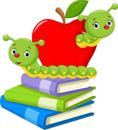 gusano caricatura: Ilustración de dibujos animados gusano de libro Vectores