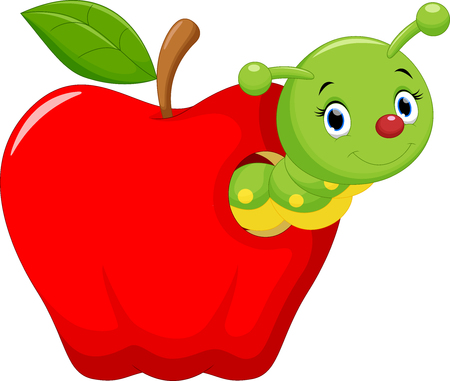 gusano caricatura: Funny cartoon worm in the apple
