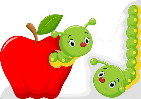 gusano caricatura: Gusano divertido de la historieta en la manzana