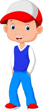 Cartoon boy wearing a hat