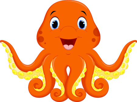 Vector illustration of cute octopus cartoon Illustration