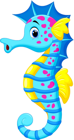 algas marinas: Ilustración vectorial de dibujos animados lindo caballito de mar