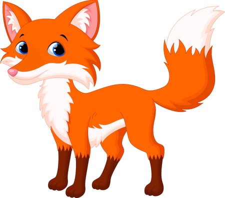 Vector illustration of Cute fox cartoon