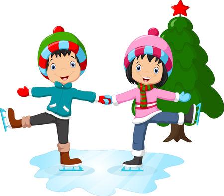 winter girl: Ice skating little girl and boy